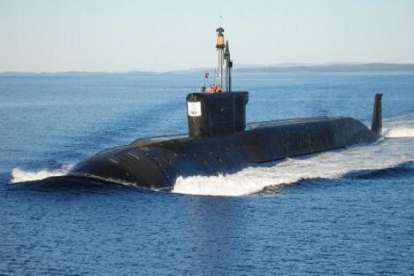 """图中:俄罗斯""""尤里·多尔戈鲁基""""号核潜艇。图片来源:塔斯社"""