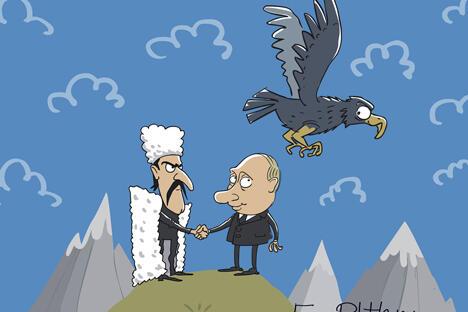 但起最重要作用的还是莫斯科的角色。对于这位被派到达吉斯坦巩固国家 权力的被委任人,克里姆林宫是否会给予支持?制图:Elkin