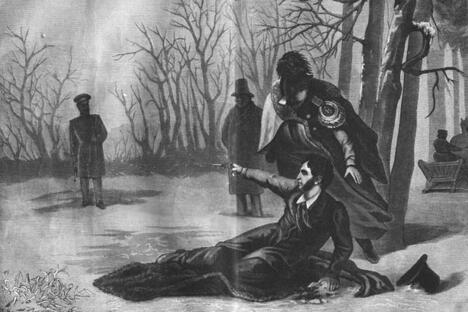 《普希金与丹特斯的决斗》安·沃科夫作于1860年代。图片来源:Wikipedia