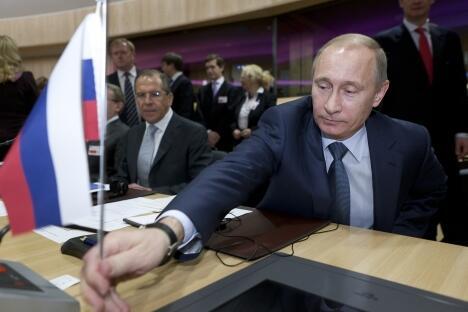 """普京表示,""""俄罗斯将继续在国际事务中奉行积极的建设性路线,其在世界上的威 信和影响力将不断增强""""。图片来源:塔斯社"""