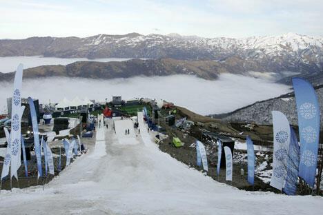 """俄罗斯车臣共和国山区的第一个大型项目——""""韦杜奇"""" 滑雪度假村已开始兴建,预计将引起人们去车臣旅游的兴趣。图片来源:俄新社"""