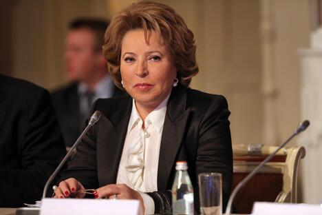 俄联邦委员会主席瓦莲京娜·马特维延科。图片来源:塔斯社