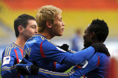 莫斯科中央陆军俱乐部队的发动机是日本中场本田圭佑,他在前半赛季成绩辉煌。图片来源:俄新社