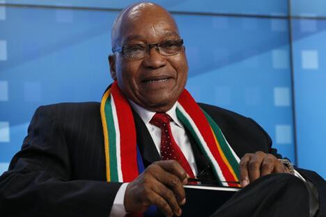 """南非总统雅各布·祖马告诉记者:""""金砖国家论坛不是脱口秀。""""图片来源:路透社"""