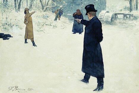奥涅金与连斯基的决斗。伊利亚·列宾画,1899年。全俄普希金博物馆,圣彼得堡。