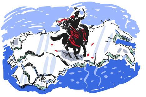 """今天的""""俄罗斯民族复兴""""被描绘成一种黑暗势力的非理性冲动。毫无疑问,其中的非理性因素和黑暗因素一点都不少。制图:Aleksey Yorsh"""