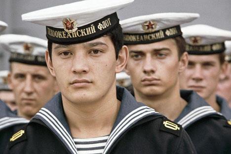 """远东海军部队水兵。图片来源:""""俄新社"""""""