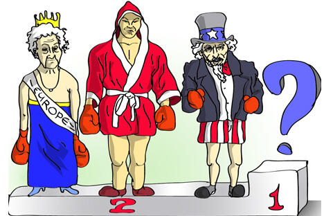 目前的情况是美国不想继续担任世界领袖,而欧洲又没有这个能力。无论你喜欢与否,最有可能的候选人就是中国。制图:Pototsky Dan