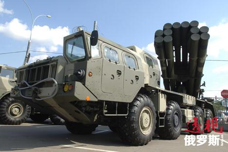 俄罗斯9K58龙卷风火箭炮系统。图片来源:塔斯社