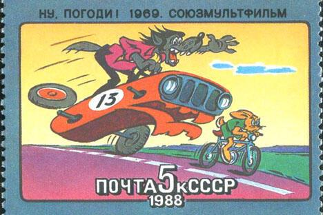 1988年,苏联邮政为纪念联盟动画电影制片厂而发行的邮票《兔子,等着瞧!》。图片来源:Wikipedia