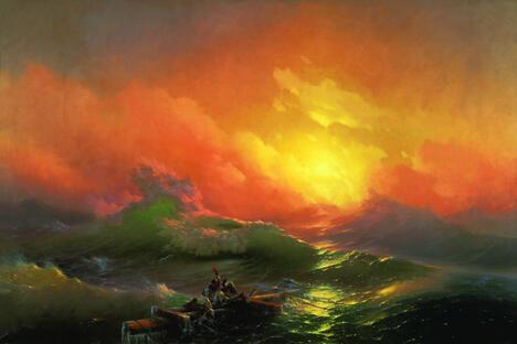 艾瓦佐夫斯基作品《九级浪》。图片来源:Wikipedia