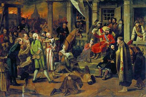 《普加乔夫审判》瓦西里·彼罗夫作于1875年,藏于圣彼得堡俄罗斯博物馆。