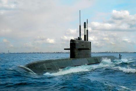 """""""拉达""""级潜艇的研制始于上世纪八十年代中期。首艘技术艇型于1993年确定,战术技术性能有显著提高的最终艇型则于1997年确定。图片来源:红宝石设计局网站"""