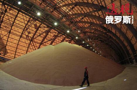在靠近俄罗斯乌拉尔山脉的彼尔姆州别列兹尼基市的一处钾盐矿,一位工作人员正在检查存储已处理钾盐的地面仓库。图片来源:Reuters