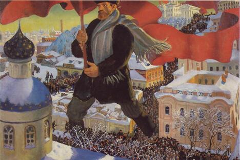 《布尔什维克》库斯多基耶夫作于1920年。藏于特列季亚科夫画廊。图片来源:Wikipedia