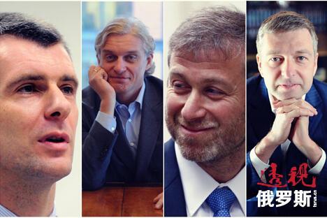 照片中从左至右:米哈伊尔·普罗霍罗夫,奥列格·京科夫,罗曼·阿布拉莫维奇,德米特里·雷博洛夫列夫。制图:透视俄罗斯