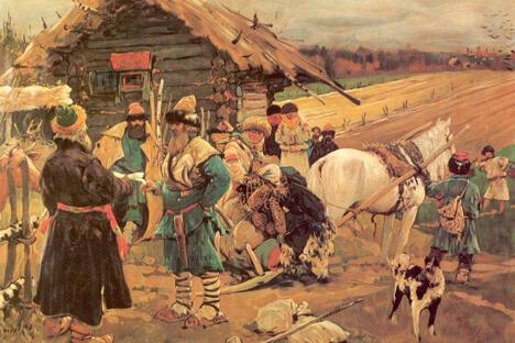《封建农奴与自己的地主》谢尔盖·伊万诺夫作于1908年