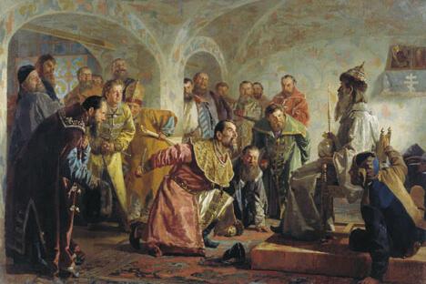 画中表现大贵族费奥多洛夫之死(1568),雷帝指控其图谋篡权。尼•瓦•涅夫列夫作于1870年。藏于吉尔吉斯斯坦加帕尔•艾季耶夫国立造型艺术博物馆。来源:Wikipedia
