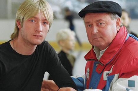 阿列克谢·米申教练(右)与他的高徒叶夫根尼·普留申科。图片来源:evgeni-plushenko.com