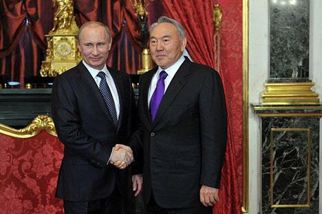 俄罗斯总统弗拉基米爾·普京和哈萨克斯坦总统努尔苏丹·纳扎尔巴耶夫 图片来源:俄罗斯总统网站