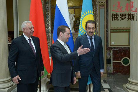 白俄罗斯,俄罗斯和哈萨克斯坦的政府首脑 图片来源:俄塔社
