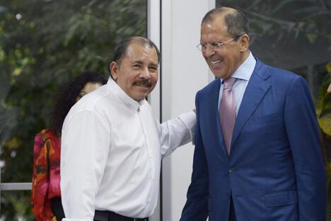 尼加拉瓜总统丹尼尔·奥尔特加和俄罗斯外交部部长谢尔盖·拉夫罗夫 图片来源:俄罗斯外交部