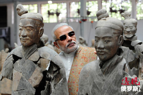 印度总理莫迪访兵马俑。图片来源:AP