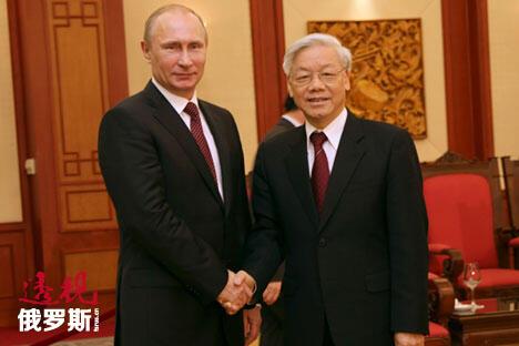 2013年,俄罗斯总统弗拉基米罗维奇·普京和越南共产党中央委员会总书记阮富仲。图片来源:AP