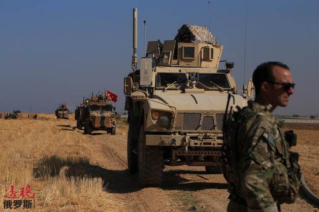 Turkish and American armored vehicles in Syria