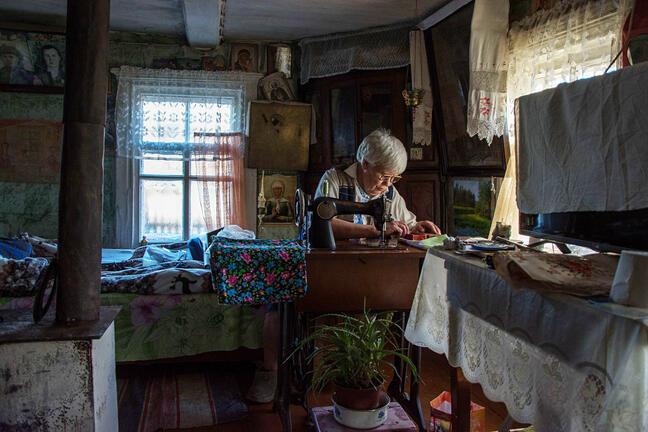 Russian woman in a village
