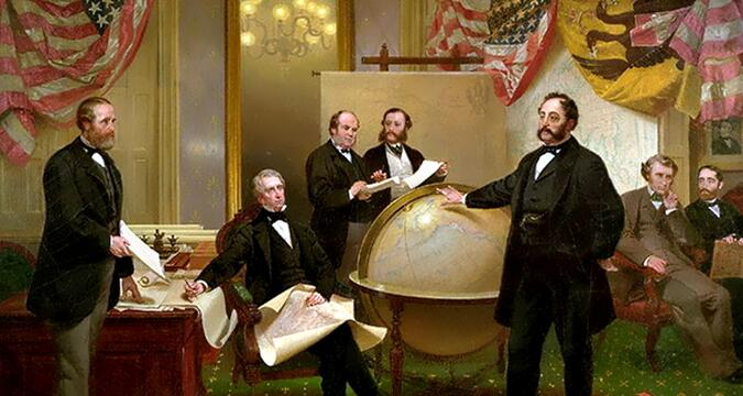 """""""Signing the Agreement for the Sale of Alaska"""" by Emmanuel Leutz"""