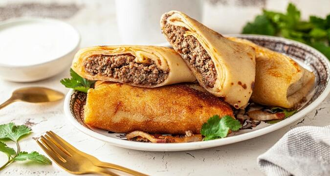 Bliny with minced meat