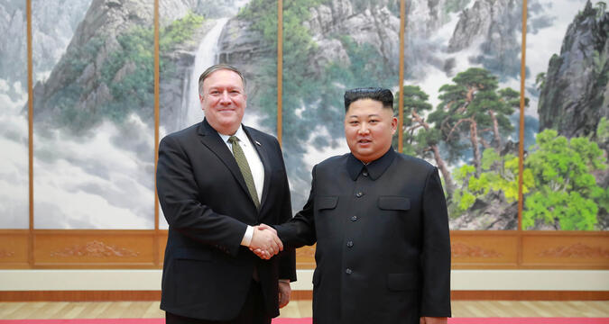 Kim Jong-un and Pompeo