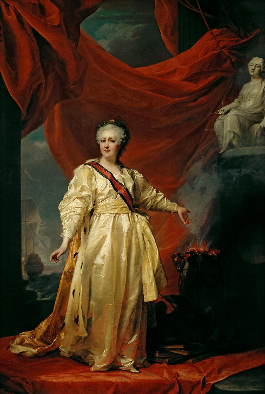 叶卡捷琳娜二世肖像。德米特里·列维茨基,1783年。图片来源: 特列季亚科夫画廊