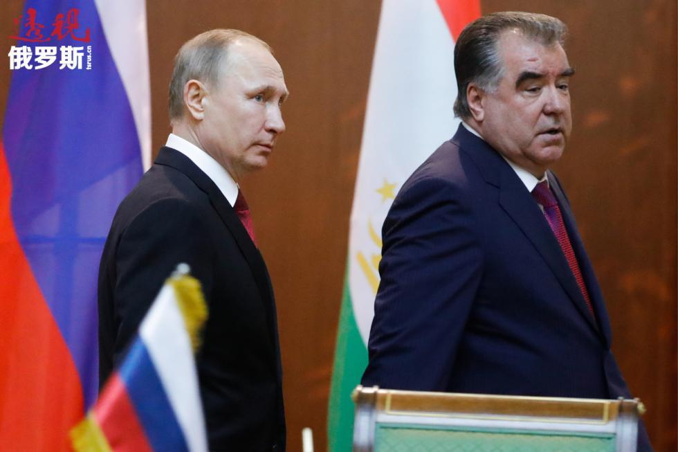 2017年2月27日。俄罗斯总统普京与塔吉克斯坦总统拉赫蒙。图片来源:Mikhail Metzel/塔斯社