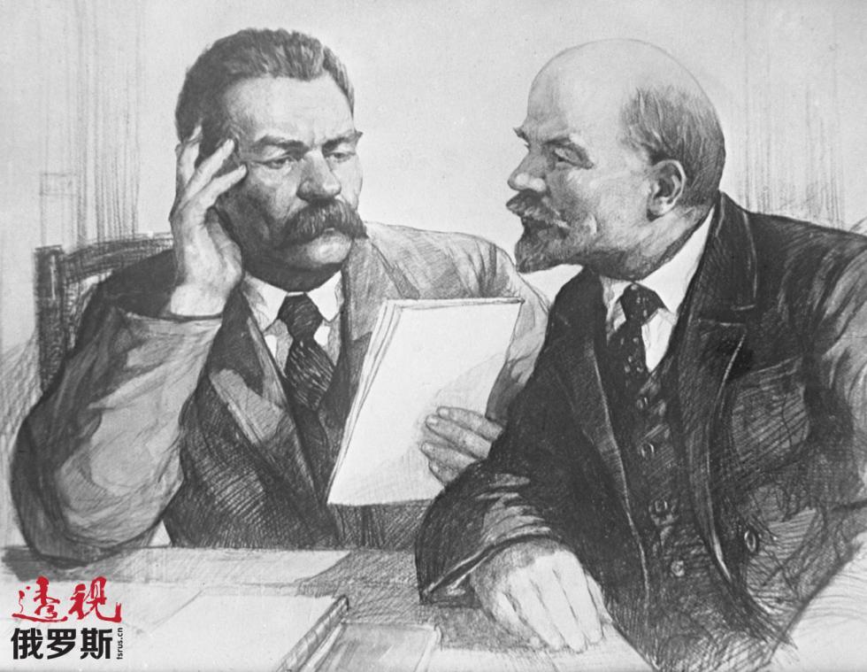 高尔基与列宁。图片来源:塔斯社