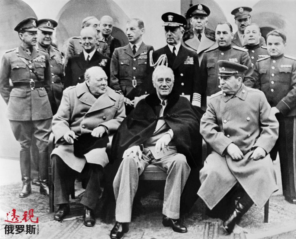 1945年。温斯顿·丘吉尔、富兰克林·罗斯福和约瑟夫·斯大林出席雅尔塔会议。图片来源:塔斯社