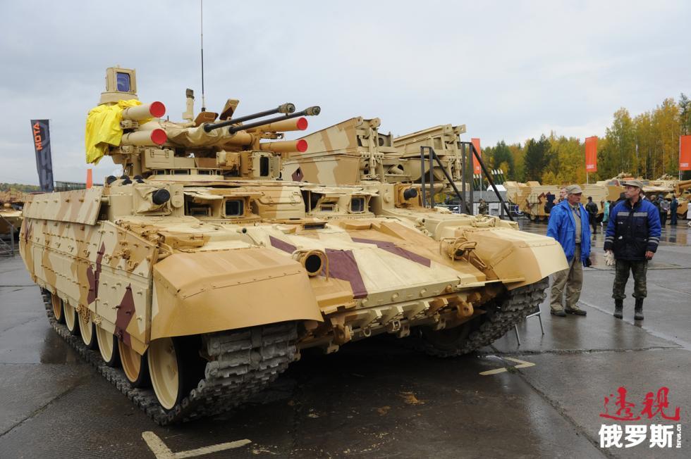 """""""终结者-2""""号坦克支援战车。图片来源:Aleksandr Ryumin/塔斯社"""