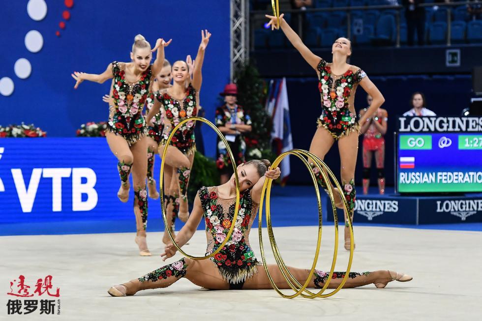 俄罗斯国家艺术体操队。 图片来源:Vladimir Pesnya / 俄新社