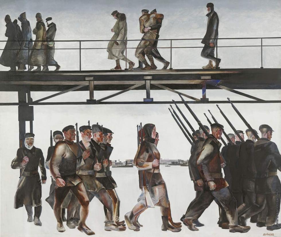 历山大·杰涅卡的作品《保卫彼得格勒》。 图片来源:Tretyakov Gallery