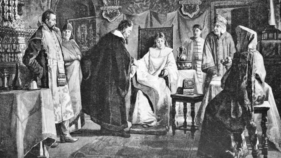 米哈伊尔·罗曼诺夫的未婚妻玛丽亚·霍洛波娃。图片来源:Nikolai Nevrev/Wikipedia