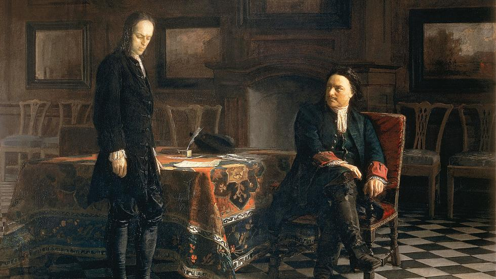 《彼得大帝审问儿子阿列克塞》,尼古拉·盖(Nikolay Ge)。图片来源:Nikolay Ge / Wikipedia