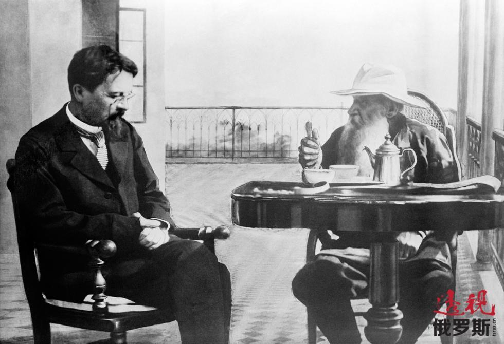 1901年,安东·契诃夫与列夫·托尔斯泰在克里米亚。 图片来源:塔斯社