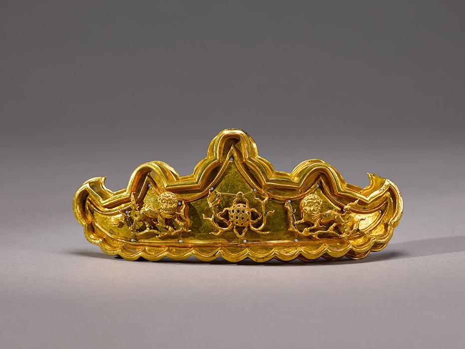 """发簪""""分心"""",明代(1368-1644年),金质,印戳。上海博物馆。图片来源:Press photo"""