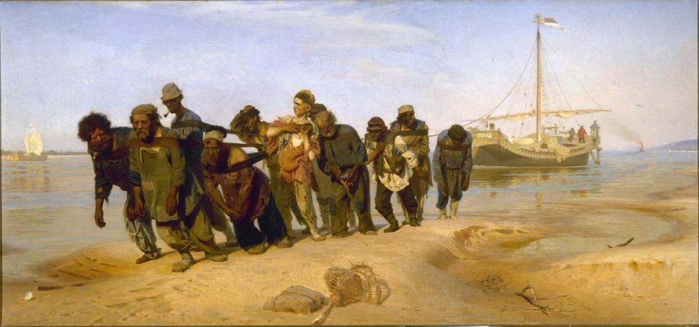 《伏尔加河上的纤夫》。图片来源:Wikipedia