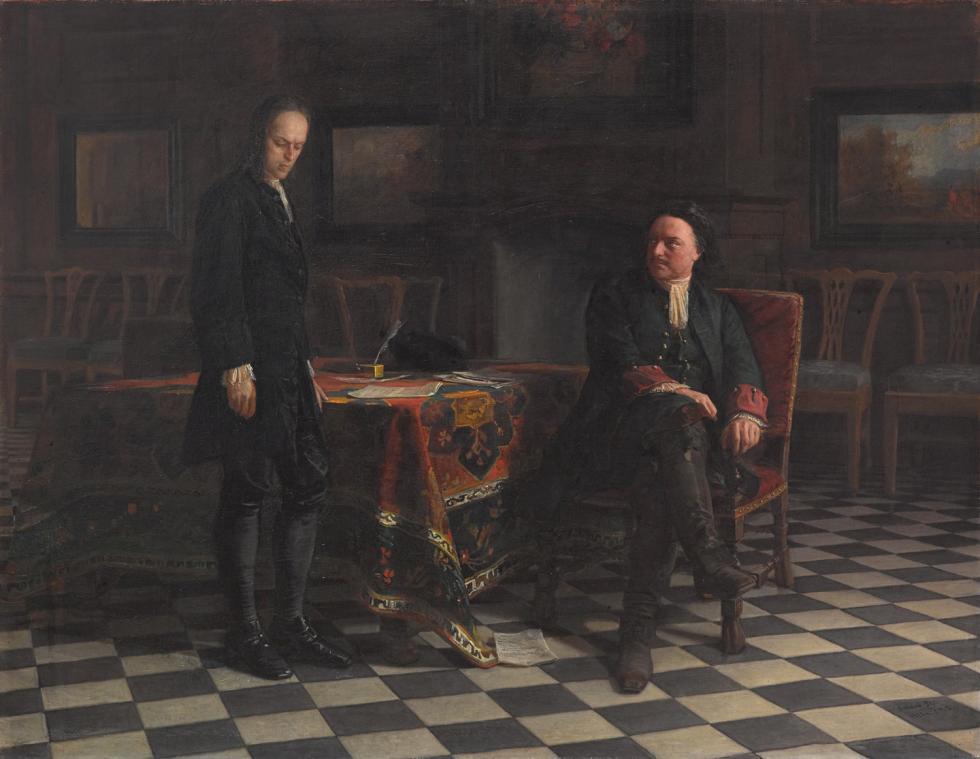 《彼得一世(大帝)在彼得宫城审问王储阿列克谢·彼得罗维奇》,尼古拉•葛(Nikolai Ge)