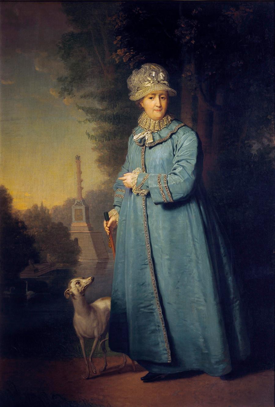 《叶卡捷琳娜大帝在皇村花园散步》,弗拉基米尔•博罗维科夫斯基,1794年。图片来源:State Tretyakov Gallery