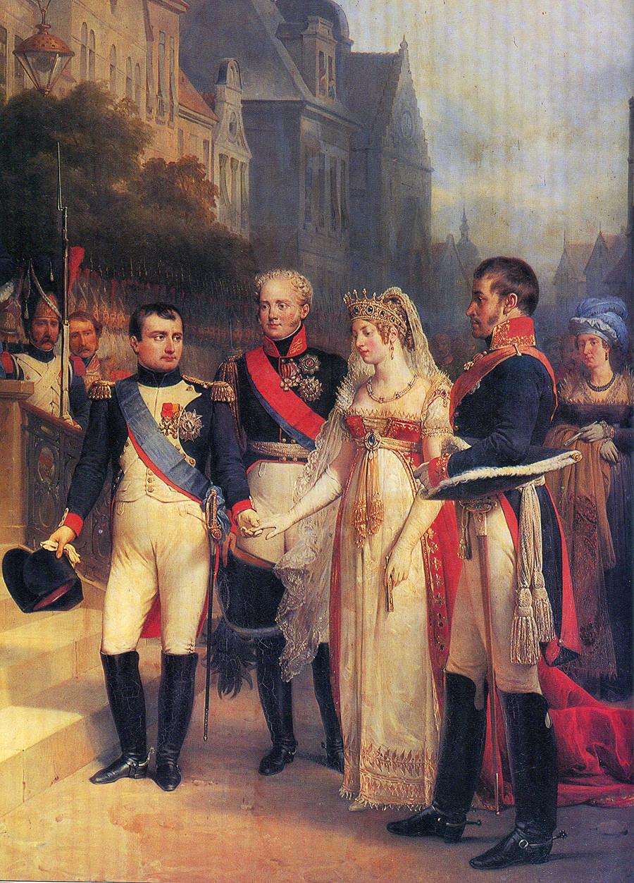 《提尔西特条约签字日。拿破仑、亚历山大一世和普鲁士的弗雷德里克·威廉三世》,尼古拉·(Nikolas Gosse),1807年。图片来源:公开来源