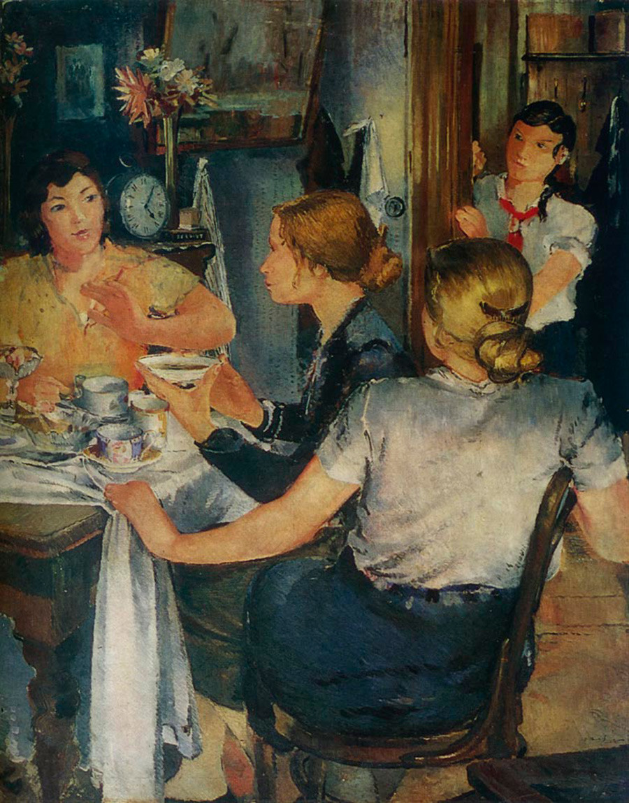 右侧部分:下午茶时间。来源:Yuri Pimenov/Yekaterinburg Museum of Fine Arts