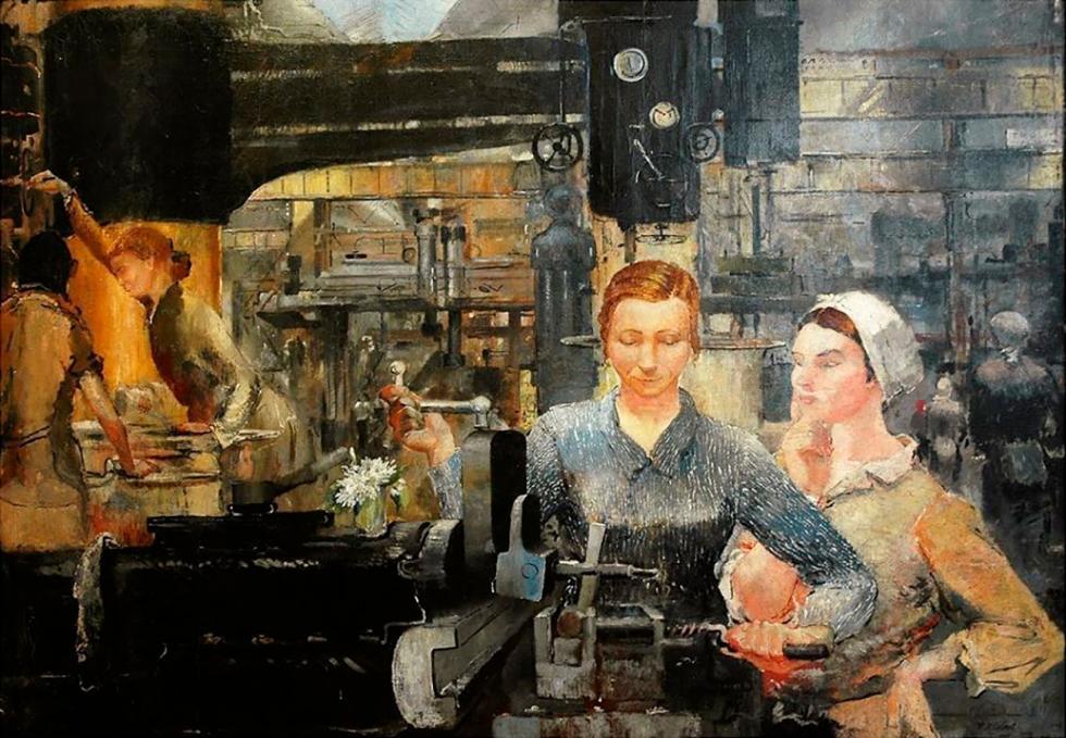 中间部分:乌拉尔重型机器制造工厂的工人们。 来源:Yuri Pimenov/Yekaterinburg Museum of Fine Arts
